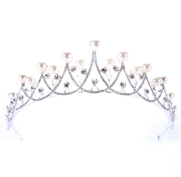 Free Shipping Rhinestone Crystal Wedding Party Prom Homecoming Crowns Band Princess Pearls Bridal Tiaras Hair Accessories Fashion LD521