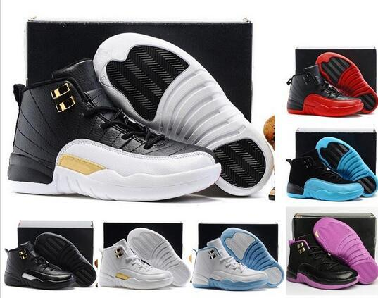 new style b9e11 274d0 2019 Cheap New Boys Girls 12 12s Kids Basketball Shoes Childrens 12s Gym  Red Pink And White Purple French Blue Toddlers Birthday Gift Shoes Men ...