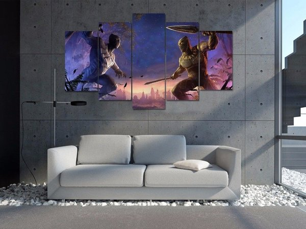 5 Panels Black panther and erik killmonger,Modern Canvas Oil Painting HD Print Wall Art Decor for Living Room Home Decoration Framed/Unframe
