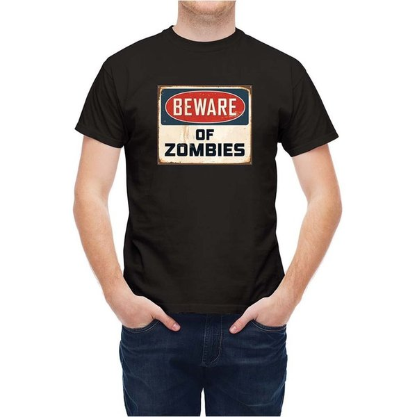 T-shirt Vintage Metal Sign Zombie Warning T25ZK4 white black grey red trousers tshirt