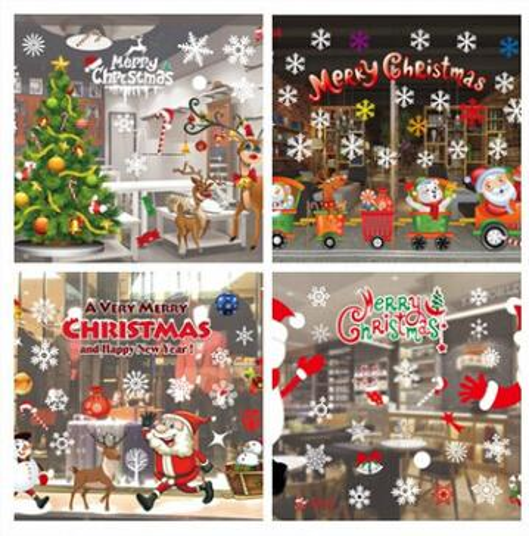 Christmas Decal Glass Window Sticker Creative Colorful Display Window Wall Sticker Snowflake Xmas Tree ELk Santa Claus Christmas Decoration