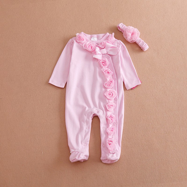 Hot Newborn Baby Infant Flower Cotton Foot Covered Jumpsuits+Headband Girls Clothes Set G27