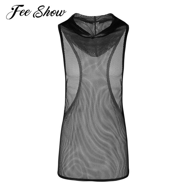 Black Mens Fishnet See-through Stretchy Hooded Vest Tank Top Clubwear Undershirt Men's Sleeveless Mesh Openwork Hooded Tank Tops