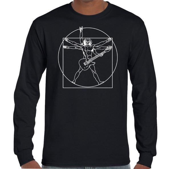 Vitruvian Guitarrista Mens Engraçado Guitarra T-Shirt Baixo Elétrico Acústico Amp Player