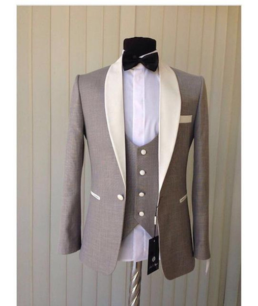 New Arrival Light Grey Groom Tuxedos Ivory Shawl Collar Blazer Groomsmen Wear Men Prom Party Suit Wedding Suits (Jacket+Pants+Vest+tie)