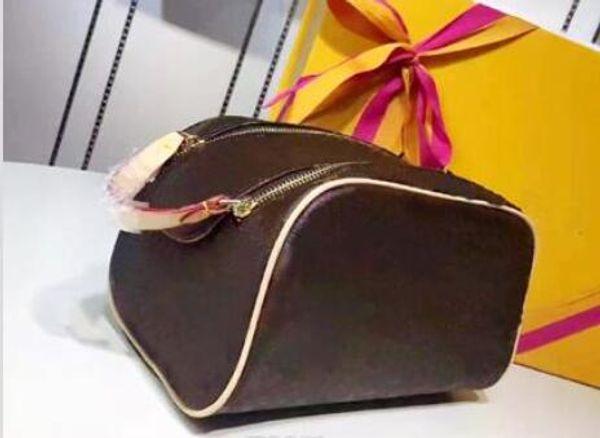 Free shipping Luxury Fashion real leather double zipper cosmetic bag travel wash clutch key storage bag womens handbag makeup bag wholesale