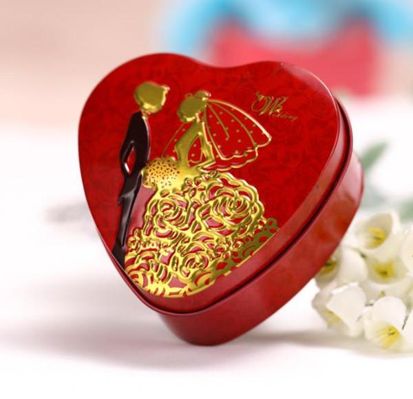 100 unids corazón forma novia y el novio cajas de la lata de la boda del banquete de boda cajas de regalo caja de embalaje del caramelo envío gratis