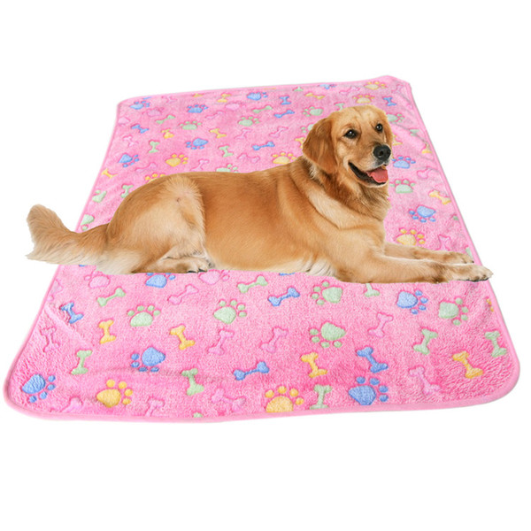 top popular Pet Dog Cat Blankets Fleece Fabric Soft and Cute Paw Bone Printing 3 Colors 4 Sizes 2020