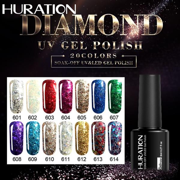 Huration Diamond 8ml Color Gel Soak Off Sparkling Purple Lucky Polish UV Lamp Glitter Diamond Nail Gel Polish Art Varnish