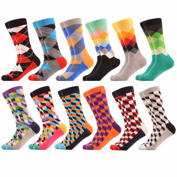 Happy Socks Herren Lustige Socken Marke Baumwolle Herren Kleid Socke Neuheit Warme Kunst Socken Socken Herren Dicke Wolle Sox 1 Paar = 2 Stück