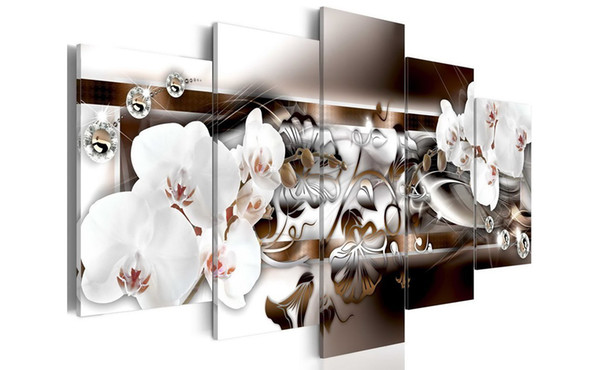 White Orchid Flower Artwork Paintings Vivid Floral Diamond Painting Modern Picture Wall Decor Framed Picture