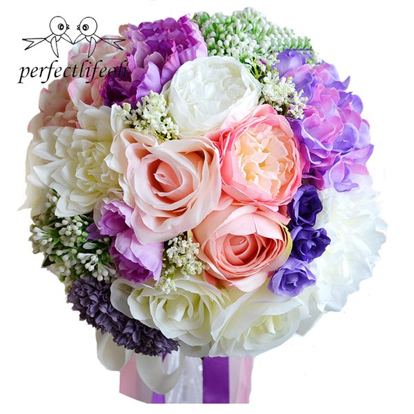 2018 Ramos de flores para novia Düğün aksesuarları yapay Düğün Buketleri Düğün çiçekleri Gelin Buketleri