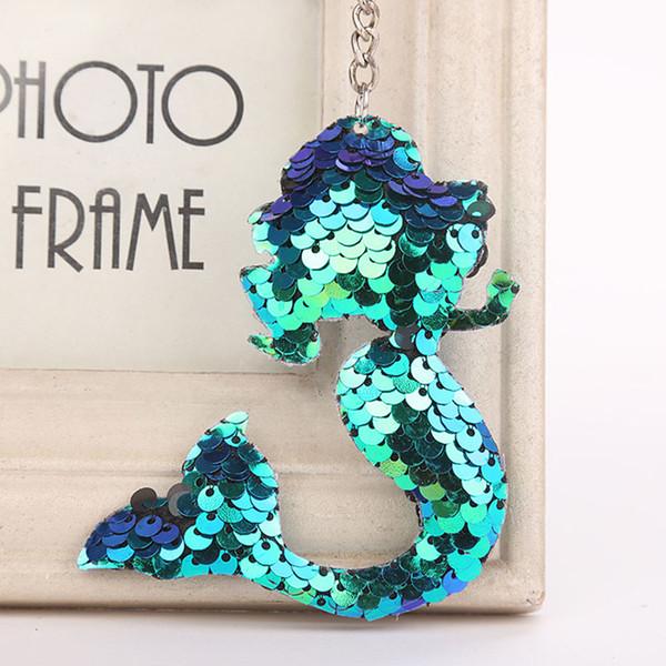 2019 Shiny cute Keychain Meerjungfrau Glitter Pailletten Schlüsselanhänger Tiere Schlüsselanhänger für Frauen Anhänger Schmuck Tasche Schlüsselring