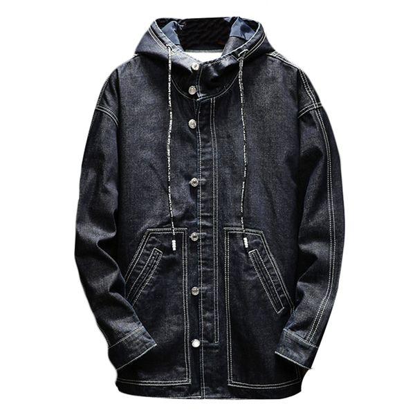 Hood Longo Trench Coat Homens Inverno Zipper Cowboy Casuais Blusão Casaco Masculino Casaco Masculino Longo Casaco Roupas Masculinas 10FT001