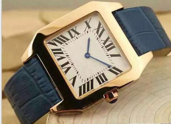 nuevo oro reloj de la manera marca de fábrica colorida del reloj del cuero genuino de cuarzo relojes de los hombres de las mujeres del reloj envío F1 envío