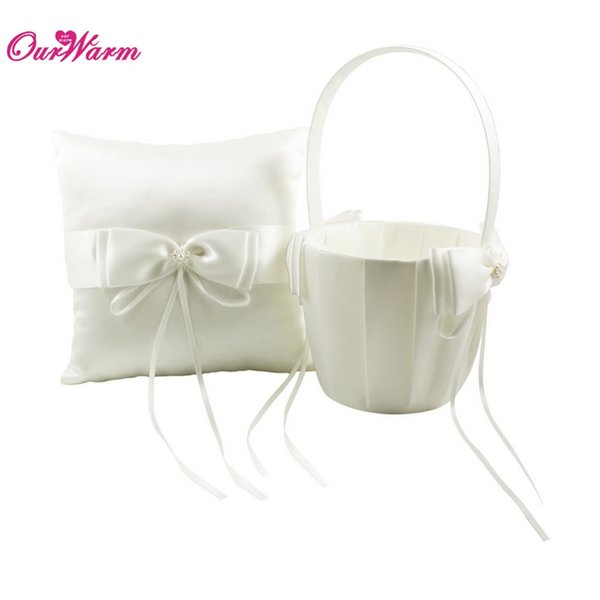Wedding Ring Pillow Flower Basket with Satin Bows Ivory Ring Pillow Flower Girl Basket for Wedding Decoration with Beads Buckle