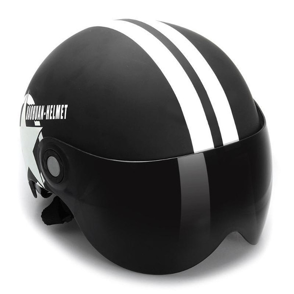 LumiParty Motorcycle Helmet Half 3/4 with Retractable Drop Down Sun Visor Open Face Helmet Motorcycle with glasses r30