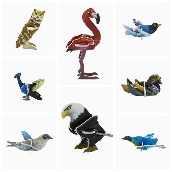 Wholesale 360pcs/lot Mini Cartoon Birds Animal Model Paper 3D Puzzles Toys for Children Gift Intelligence Toys