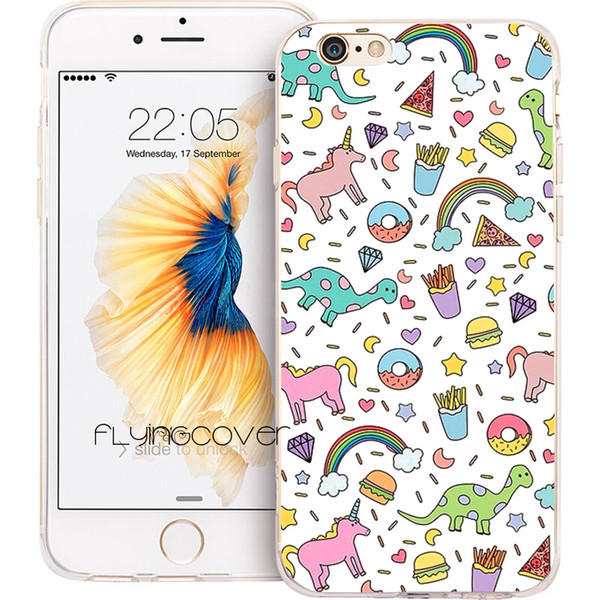 Capa Unicorn Rainbow Donut Clear Soft TPU Silicone Phone Cover for iPhone X 7 8 Plus 5S 5 SE 6 6S Plus 5C 4S 4 iPod Touch 6 5 Cases.