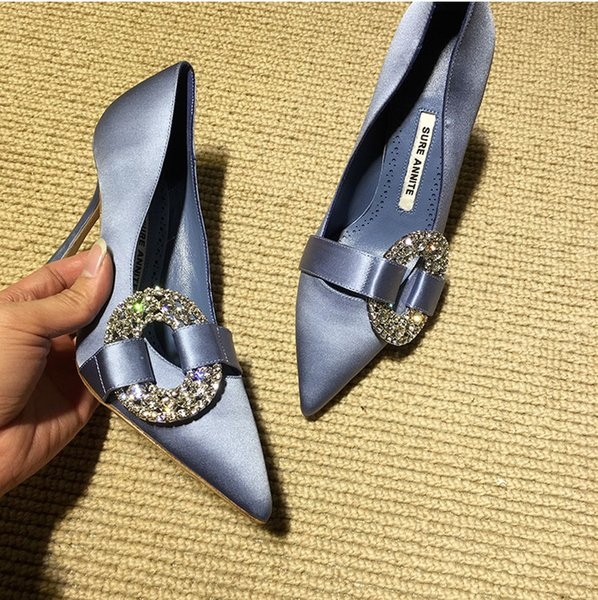female new water drill point pure silk side round drill banquet fine High heel dress diamond shoe 396
