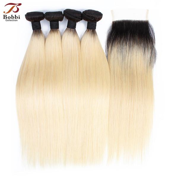 Ombre Sarışın Saç Örgü Demetleri Ile Kapatma Renk 1B 613 Brezilyalı Düz Remy İnsan Saç Uzantıları 4 Parça ile 4 * 4 dantel kapatma
