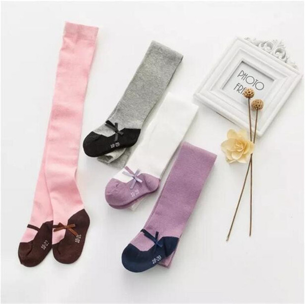 Baby Girls little lady pantyhose Toddlers cotton splicing color ribbon bow leggings for 6m-4T kids plain maryjane tights 4 colors 3 sizesA08