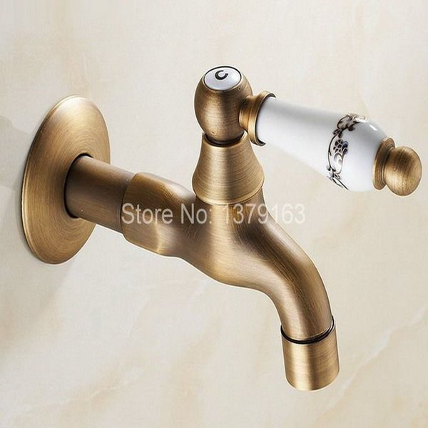 Antique Brass Single Ceramic Flower Pattern Handle Kitchen faucet wall mounted Laundry bathroom Mop Water Tap aav133