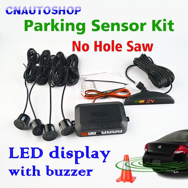parking sensor kit Viecar Parking Sensor Kit LED Display Car Reverse Assistance No Hole Saw Sensors 22mm 12V 8 Colors Backup Monitor System