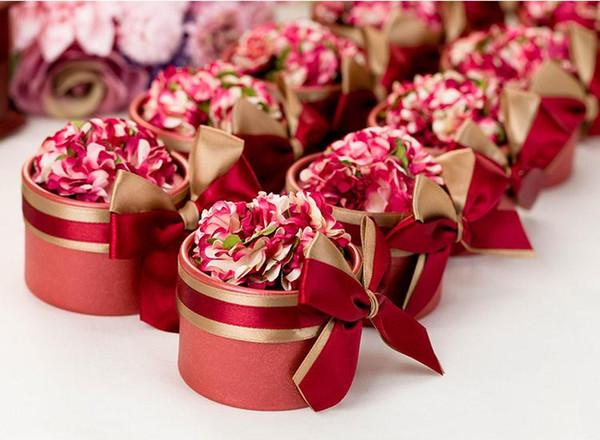 100pcs di lusso europeo fiore stile cilindrico diamante di cristallo casella di caramella di cerimonia nuziale con il nastro di seta avvolge regalo spedizione gratuita