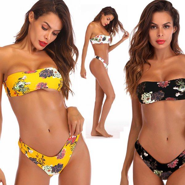 Floral Print Twist Bandeau Bikini Set Bathing Suit Swimsuit Strapless High Leg Thong Bikini Push Up Bikini Women Swimwear