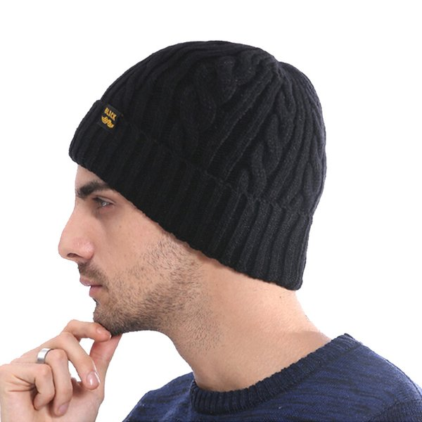 821912e7bf0 Casual Knitted Women s Cap Thick Solid Hats Caps Men Velcet Crochet  Skullies Men Women Winter Hat