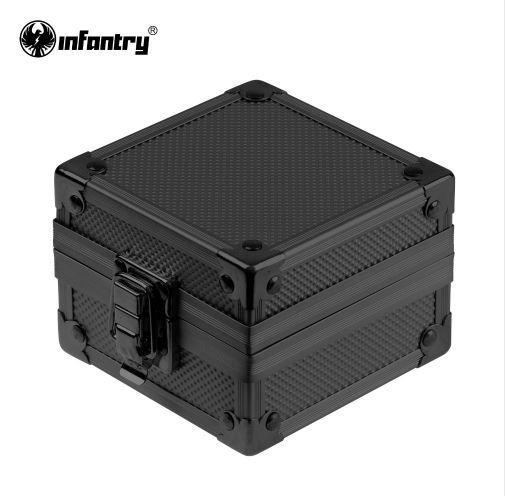 Infantería Fashion Rock Style Upgrade Cajas de vitrinas de regalo de aluminio negro Cajas de presentación para relojes Pulseras NUEVO