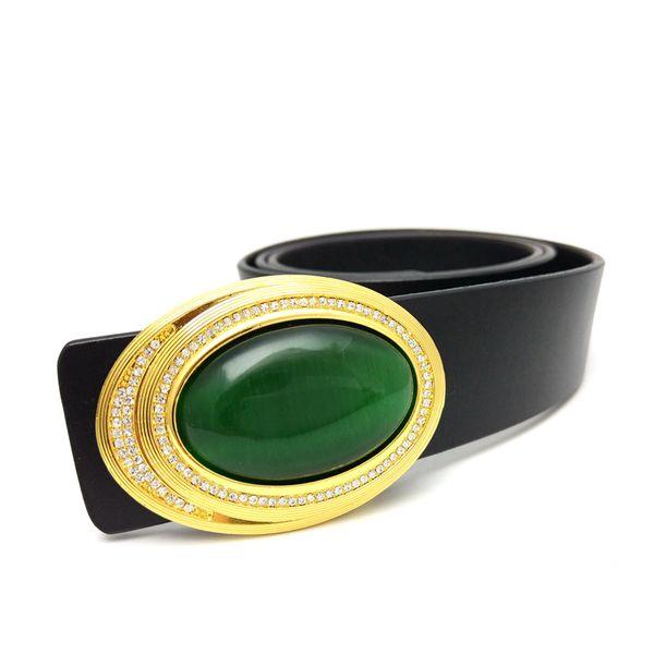 Genuine leather belt men Gold metal buckle rhinestones green Cat's eye stone opal inlay decoration mens belts luxury