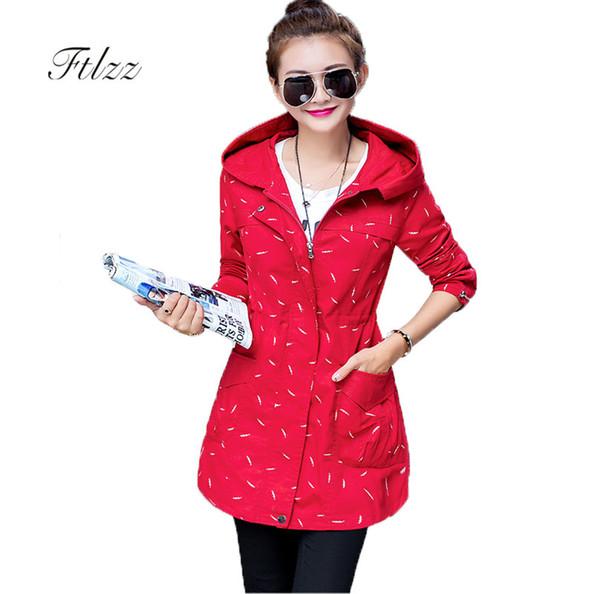 Primavera Autunno Trench Coat 2018 Nuove donne di moda Slim giacca a vento con cappuccio Donna Plus Size Print Medio cappotti lunghi Casacas