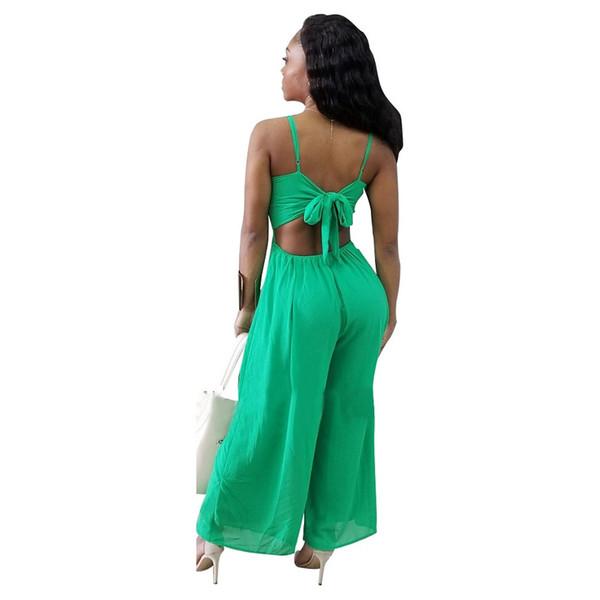 Strap Green Chiffon Long Jumpsuit Backless Sexy Boho Rompers Women Bandage Jumpsuits 2018 Elegant Summer Jumper