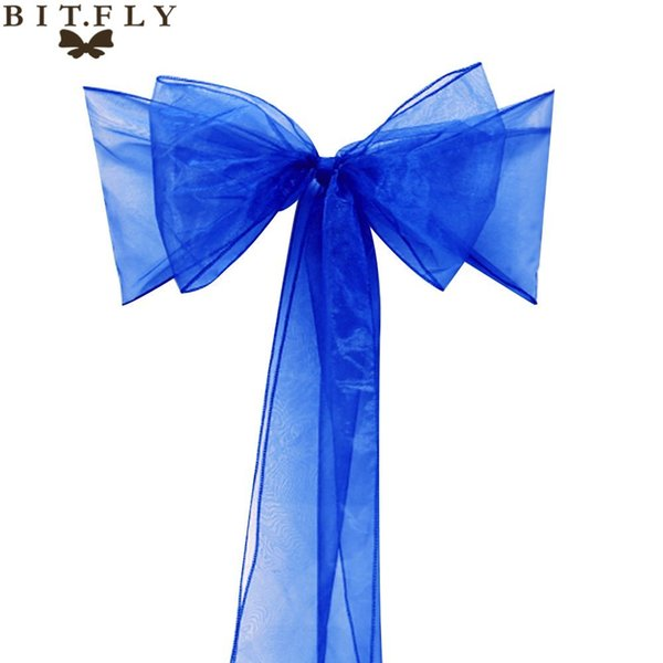 """decor Free Shipping 50 Pieces royal blue 7\""""x108\""""party Chair Cover Sash Bow Supply Wedding Decorations Event Supplies Home Textiles"""