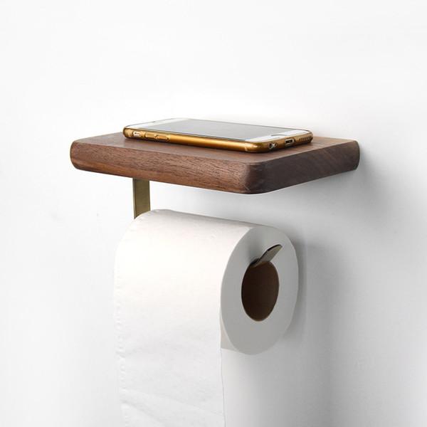Portarrollos de nogal negro Toallero de madera estuche para pañuelos Portarrollos de papel higiénico Estante Estante de almacenamiento Estante de almacenamiento Artículos de baño