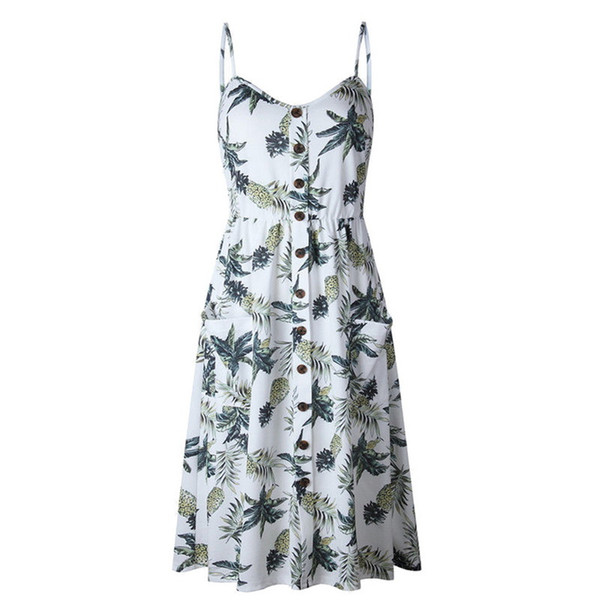 Women Summer Dress Boho Tropical Leaf Print Beach Dress Sleeveless Spaghetti Strap Sexy Backless Ruffle Mini Dress Sundress Robe