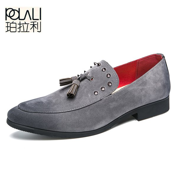 POLALI Italian Design Dress Shoes Men Formal Shoes To Party Rivet Design Elegant For Men Tassel Performance Footwear