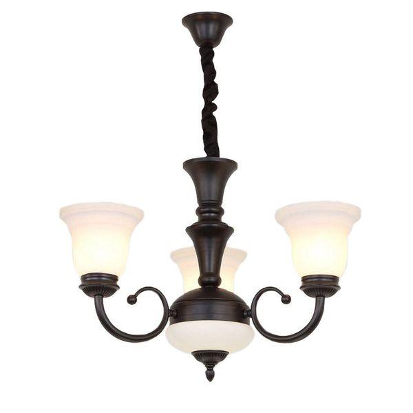 OOVOV Classic Iron Glass Restaurant Pendant Light,Retro Black Bedroom Study Room Living Room Pendant Lamps Chandelier