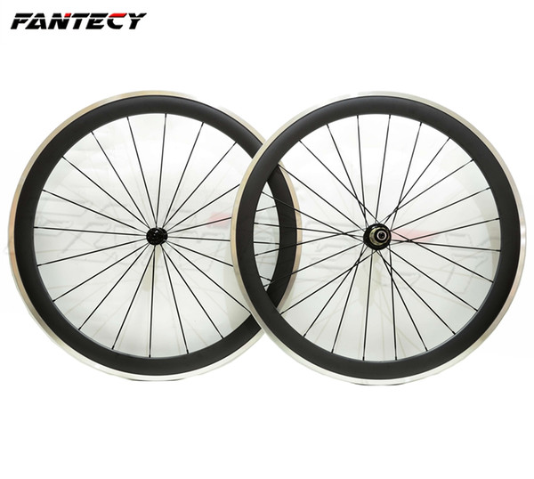 FANTECY Alloy Brake Surface wheels 50mm depth 23mm width Aluminum brake road bike carbon wheelset 3K matte finish with Powerway R13 hub