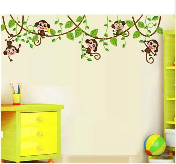 Free shipping Monkeys Vinyl Tree Wall Stickers Kids Rooms Decor Children Wall Decals Animals Wallpaper Mural Baby Wall Sticker Home Decorati