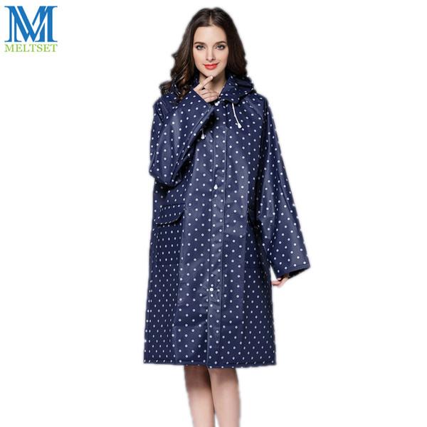 EVA Waterproof Raincoat Women Dot Rain Poncho Zipper Style Ladies Fashion Long Rain Coat With Hood