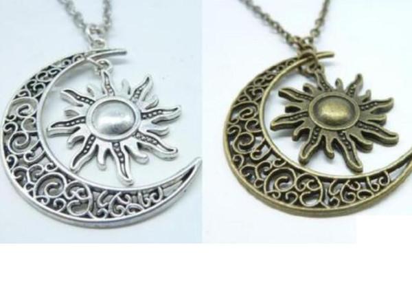 Vintage Argento Bronzo Hollow Crescent Moon Sun Collana Collane Collane Dichiarazione Collane Per le donne Gioielli Accessori in lega Ragazze fai da te