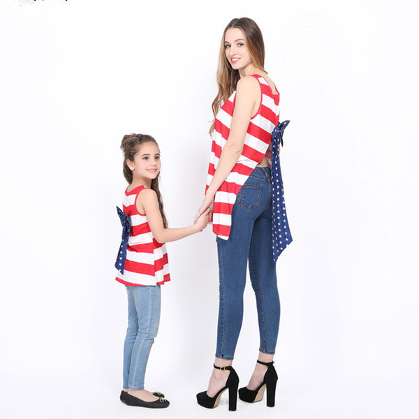 Mother Daughter Dresses Family Matching Outfits Sleeveless Striped Bows Summer Dress Mommy and Me Jumper Dress Flag Day