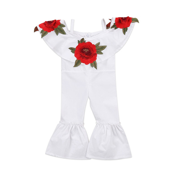 2017 New Fashion Children Girls Floral Romper Off shoulder Cape Collar 3D Rose Flower Kids Strap Jumpsuit Flared Clothes Sunsuit