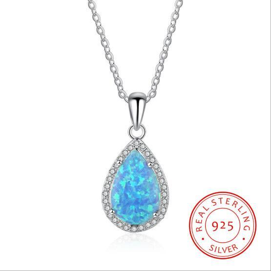 Classic Water Drop Shape Created Blue Opal Pendant Necklace Luxury 925 Sterling Silver Jewelry for Women
