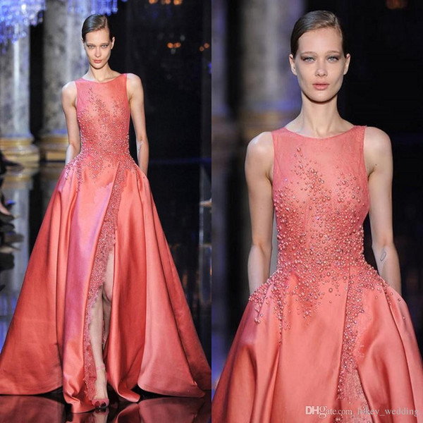 Elie Saab Evening Dresses Jewel with Split Zipper Back Side Slit A Line Pearls Coral Prom Dress Wedding/Events Ball Gowns Fashion Dress