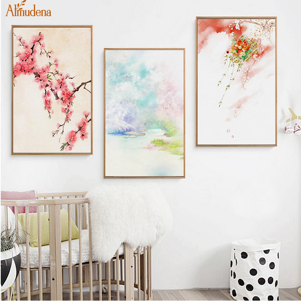 Paysage Fleurs de cerisier Peintures Sur Toile Style Chinois Montagne Résumé Affiche Nordique Mur Art Photo Décor À La Maison