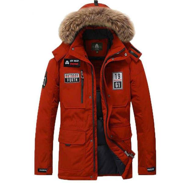 Wholesale-Fur Hooded Collar Men Winter Coat Long Multi Pocket White Duck Down Padded Jacket Snow Warm Windbreaker Fur Mens Parka Thick